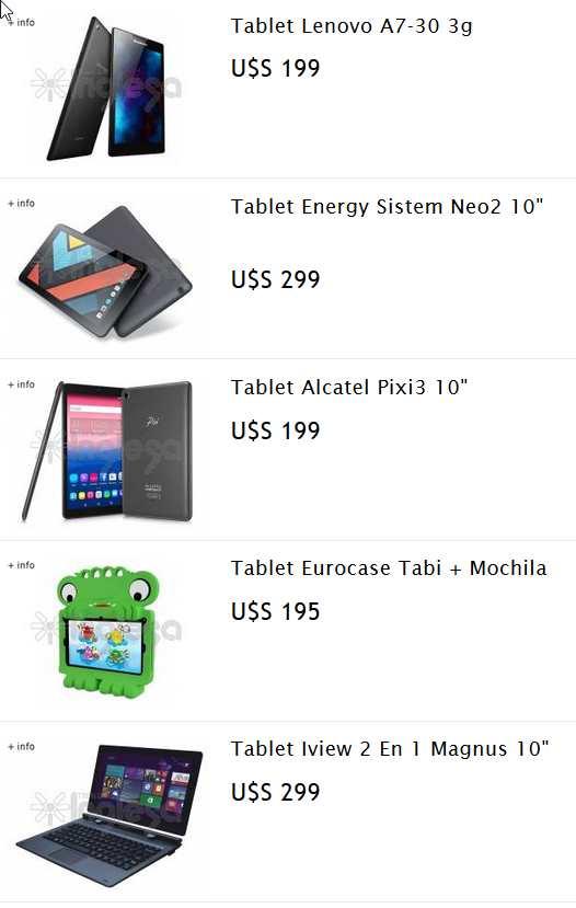 tablets en tienda inglesa