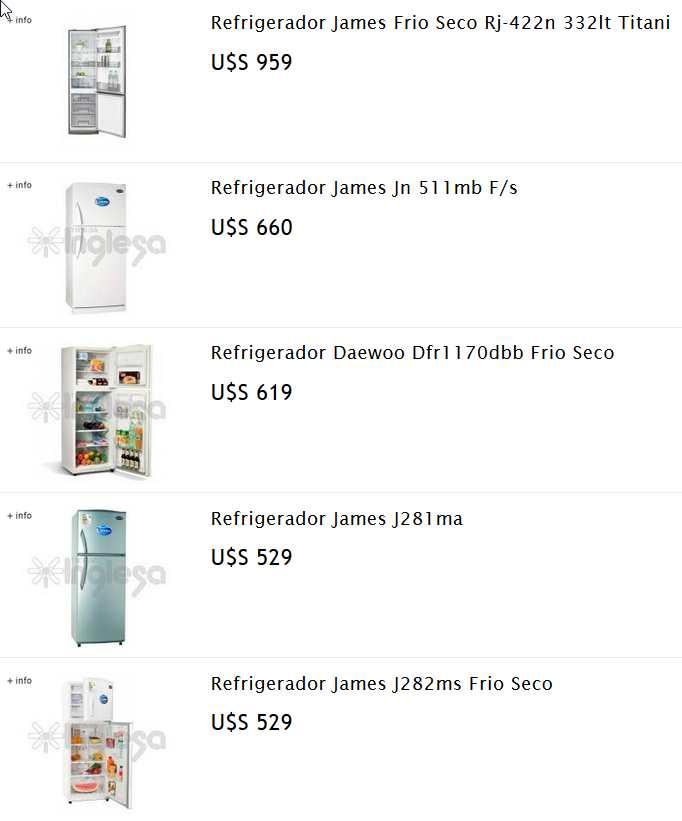 refrigeradores tienda inglesa