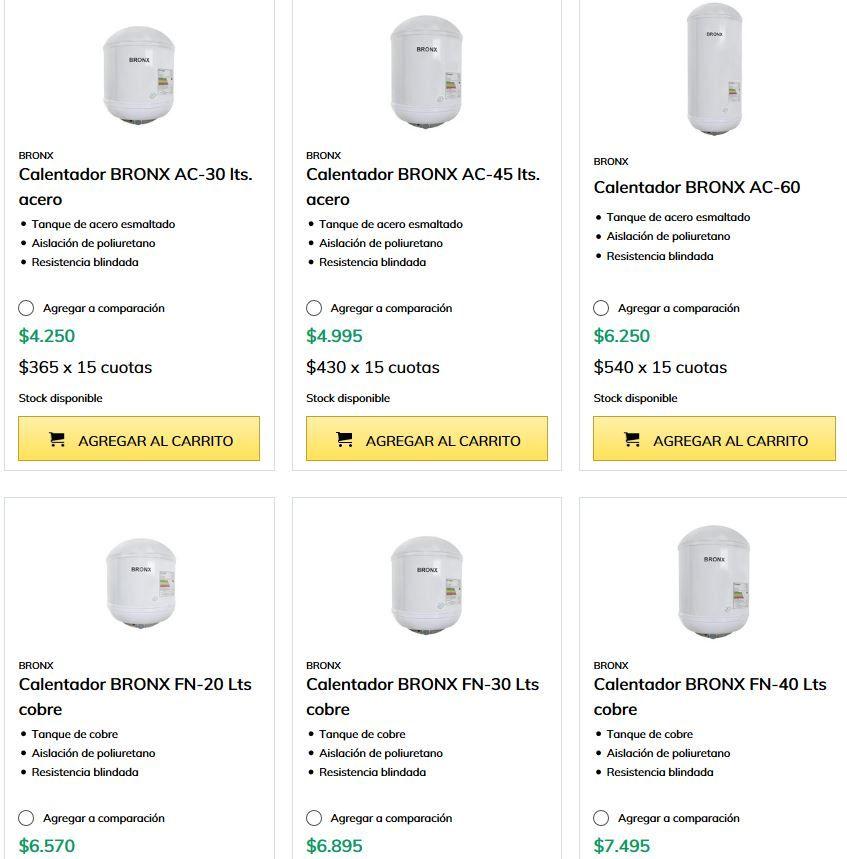 Catálogo de termofones en Carlos Gutiérrez